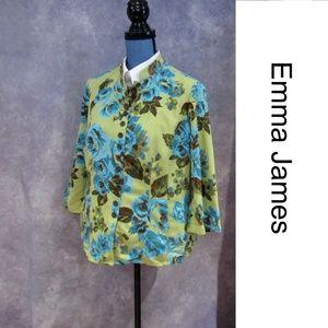 Emma James Green Blue Roses Shirt Jack Jacket 14W